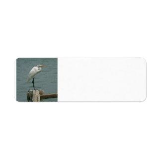 Heron on Piling Label
