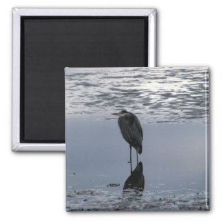 Heron Reflected 2 Inch Square Magnet