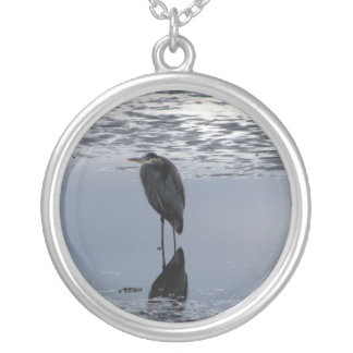 Heron Reflected Silver Plated Necklace