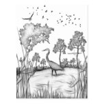 Heron Scene black and white sketch fractalius Post Card