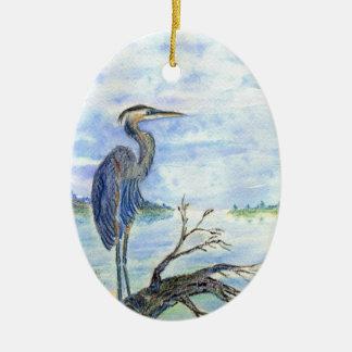 Heron Sentry - Watercolor Pencil Ceramic Ornament