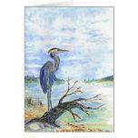 Heron Sentry - Watercolor Pencil Greeting Card