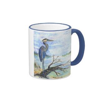 Heron Sentry - Watercolor Pencil Ringer Mug