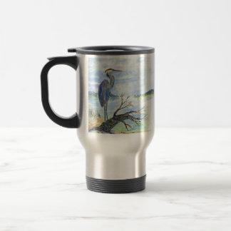 Heron Sentry - Watercolor Pencil Travel Mug