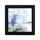 Heron Sentry - Watercolor Pencil Trinket Box