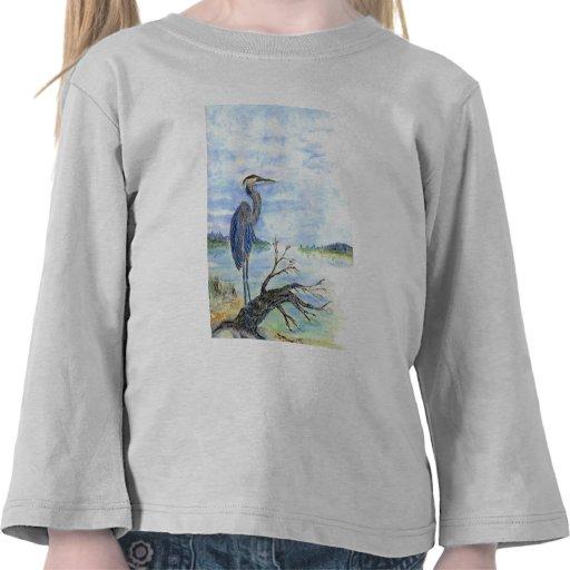 Heron Sentry - Watercolor Pencil Tshirt