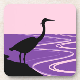 Heron Silhouette at Sunset Drink Coaster