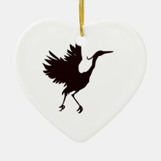 Heron Silhouette Ceramic Ornament