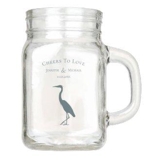 heron silhouette dark teal blue cheers to love mason jar