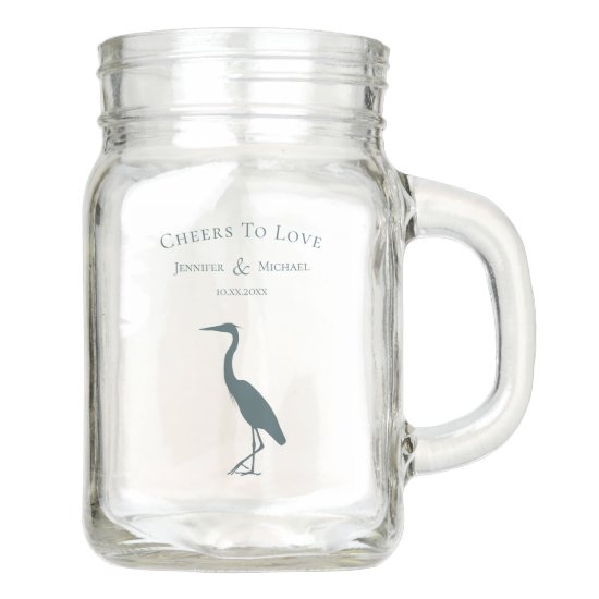 heron silhouette dark teal blue cheers to love mason jar
