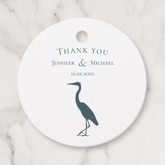 heron silhouette dark teal blue on white simple favor tags