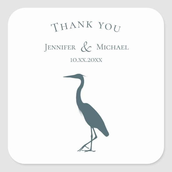heron silhouette dark teal blue on white simple square sticker