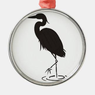 Heron Silhouette Metal Ornament