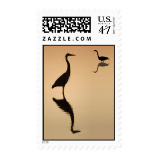 Heron Silhouette Postage Stamp