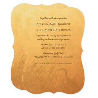 Heron silhouette sunset ombre wedding invitatation card