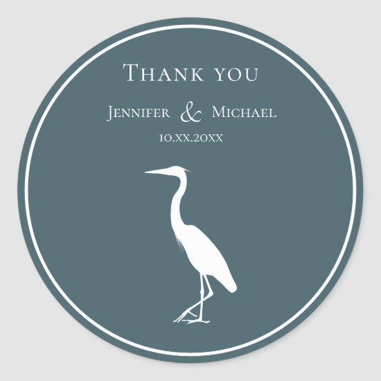 heron silhouette white on dark teal blue simple classic round sticker