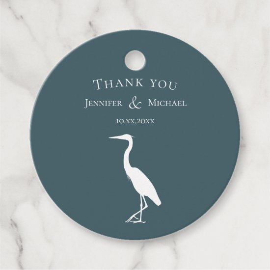 heron silhouette white on dark teal blue simple favor tags