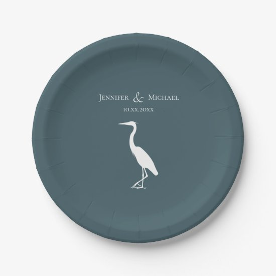 heron silhouette white on dark teal blue simple paper plate