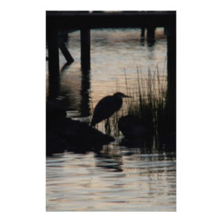 Heron Silhouetted on water at sunset Stationery