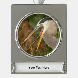 heron silver plated banner ornament