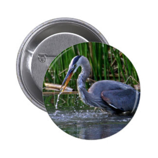 Heron Splash Pinback Button