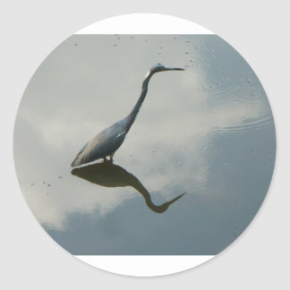 Heron thoughts classic round sticker