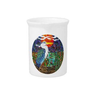 Heron tropical geometric metallic collage II Drink Pitcher