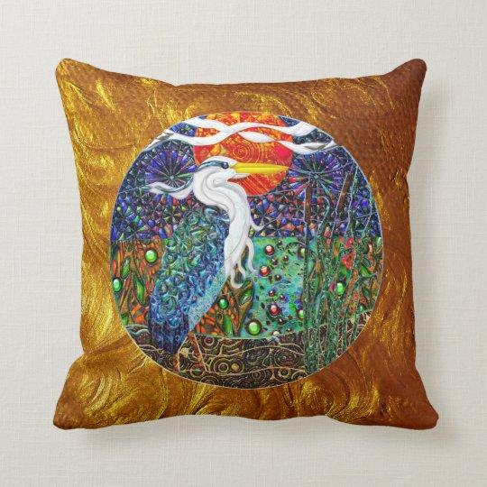 Heron tropical geometric metallic collage II Throw Pillow