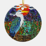 Heron tropical landscape Double-Sided ceramic round christmas ornament