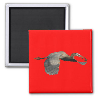 heron with fish 2 inch square magnet