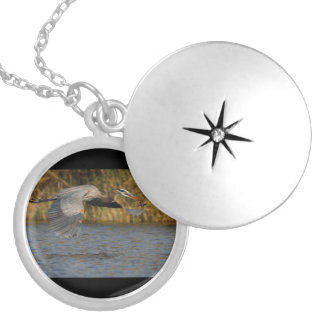 Heron with Fish Silver Plated Necklace