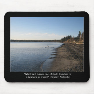 Heron with Nietzsche Quote Mouse Pad