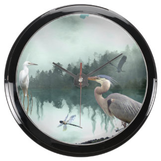 Herons and Egrets Wildlife Nature Sanctuary Fish Tank Clock