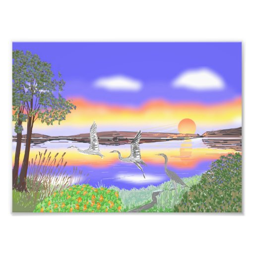 Herons At Sunset, beautful contemporary scene Photographic Print