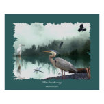 Herons, Egret, Crows, Dragonflies, Wilderness Art Posters