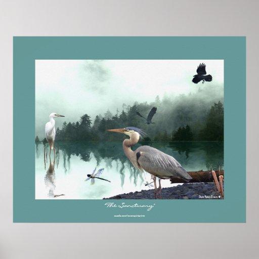 Herons, Egret, Crows, Dragonflies, Wilderness Art Poster