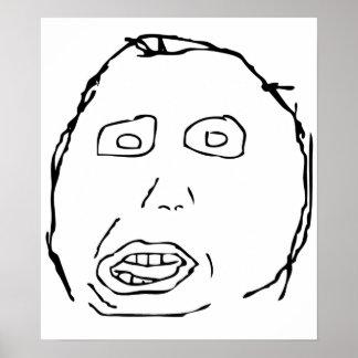 Herp Derp Idiot Rage Face Meme Poster