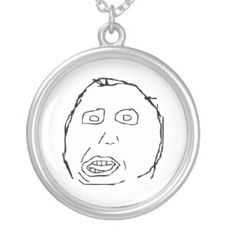 Herp Derp Idiot Rage Face Meme Silver Plated Necklace