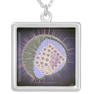 Herpes Virus Structure Silver Plated Necklace