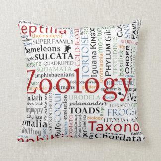 Herpetología en tipografía almohadas