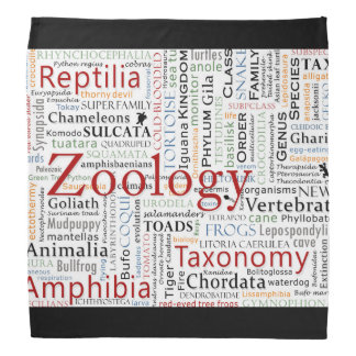 Herpetología en tipografía bandana