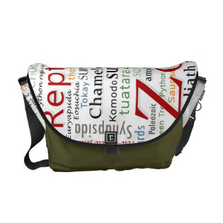 Herpetology in Typography Messenger Bags