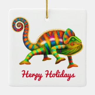 Herpy Holidays Chameleon Ornament