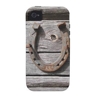Herradura afortunada en el iPhone de madera 4 de iPhone 4/4S Fundas