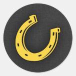 Herradura ambarina amarilla pegatinas redondas