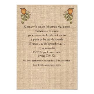 """Herradura de Acción de Gracias Arriba Invitación 5"""" X 7"""""""