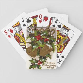 Herradura del oro de la nieve del acebo de Bell Cartas De Póquer