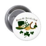 Herradura del oro del gorra del Leprechaun - St Pa Pin Redondo 5 Cm