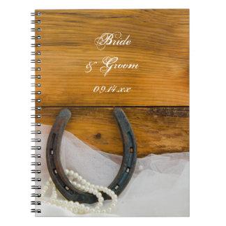 Herradura y boda occidental del país de las perlas spiral notebook
