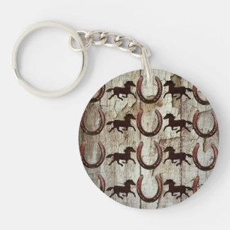 Herraduras de los caballos en los regalos de llavero redondo acrílico a doble cara